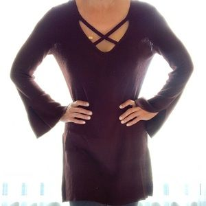 Free People brown long sweater with cross straps